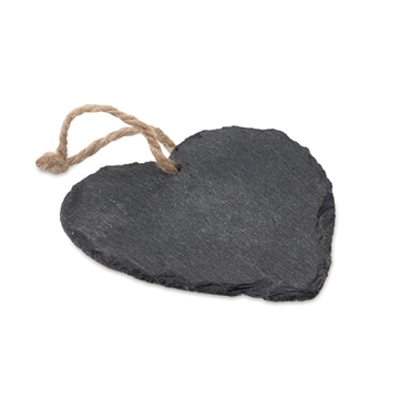 Slate Heart Shaped Decoration With Cord Hanger