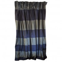 Blue Stripe Curtains Black Out Lined