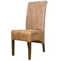 Vintage Faux Leather Scrollback Restaurant Chair