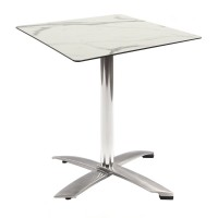 White Marble Table With Alu Flip Top Base Outdoor 4275
