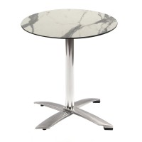 White Marble Table With Alu Flip Top Base Outdoor