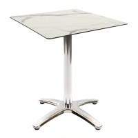 White Marble Table With Aluminium Base Outdoor 4274