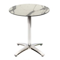 White Marble Table With Aluminium Base Outdoor