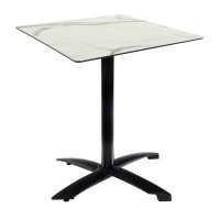 White Marble Table With Black Alu Flip Top Base Outdoor 4276