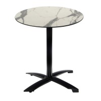 White Marble Table With Black Alu Flip Top Base Outdoor