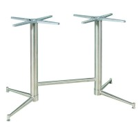 Zeus 4 Leg Twin Brushed Stainless Steel Dining Height Table Base