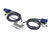 IOGEAR 2 Port Compact USB KVM Switch W/built-in 6ft cable and audio GCS632UW6 - eet01