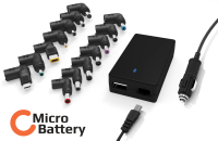 MicroBattery 90W Universal Car Adapter Build in USB charger 5V 2A MBXUN-90W-DC0001 - eet01