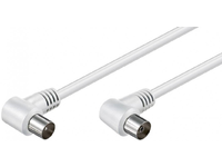 MicroConnect Coax Cable 1.5m White2x Angled Coaxial M 90 - Coaxial F 90 COAX015WAA - eet01