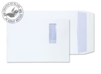 9001 Blake Purely Packaging White Window Peel & Seal Gusset Pocket 324X229X25mm 140G Pk125 Code 9001 3P- 9001