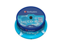 43352 Verbatim AZO CD-R 52X 700MB Crystal 25 Pack - eet01