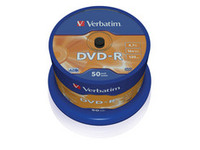 43548 Verbatim DVD-R, General, 16X, 4.7GB Branded Matt Silver,50 Pack - eet01