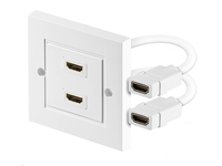 HDMWALL2 MicroConnect HDMI wall socket 2 port white 1080P, 3D. HDCP, High speed. - eet01