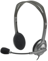 Logitech H111 Binaural Head-band Headset, Grey 981-000593 - eet01