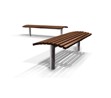 s19 Stainless Steel/Galvanised Steel and Timber Bench