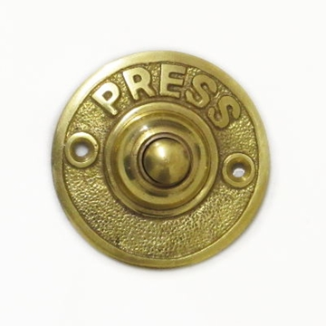 Circular Brass Door Bell Push With Press Round Polished Brass