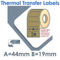 044019TTNPX1-2500, 44mm x 19mm, Gold, Thermal Transfer Labels, Permanent Adhesive, 2,500 per roll, FOR SMALL DESKTOP LABEL PRINTERS