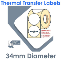034DIATTNRW1-4000, 34mm Diameter Circle , Thermal Transfer Labels, Removable Adhesive, 4,000 per roll, FOR LARGER LABEL PRINTERS