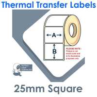 025025TTNRW1-4000, 25mm x 25mm , Thermal Transfer Labels, Removable Adhesive, 4,000 per roll, FOR LARGER LABEL PRINTERS