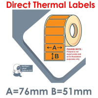 076051DTYPO1-1000, 76mm x 51mm, Orange, Direct Thermal Labels, Permanent Adhesive, 1,000 per roll, For Small Desktop Label Printers