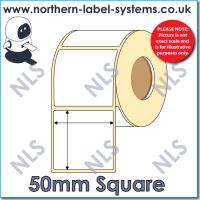 Thermal Transfer Label <br>Permanent Adhesive<br>50mm x 50mm<br><br> For Small Desktop Label Printers