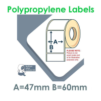 047060GPNPW1-500, 47mm x 60mm Gloss White Polypropylene Label, 47mm x 60mm, Permanent Adhesive, FOR SMALL DESKTOP LABEL PRINTERS