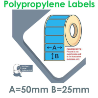 050025GPNPB1-5000, 50mm x 25mm, BLUE Polypropylene Label, Permanent Adhesive, FOR LARGER LABEL PRINTERS