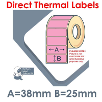 038025DTNPP1-2000, 38mm x 25mm, Pink, Direct Thermal Labels, Permanent Adhesive, 2,000 per roll, FOR SMALL DESKTOP LABEL PRINTERS