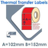 102152TTYPR1-1000, 102mm x 152mm, Red, Permanent Adhesive, Thermal Transfer Labels, 1,000 per roll, FOR LARGER LABEL PRINTERS