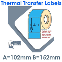 102152TTYPB1-250, 102mm x 152mm, Blue, Permanent Adhesive, Thermal Transfer Labels, 250 per roll, FOR SMALL DESKTOP LABEL PRINTERS