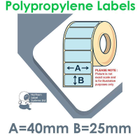 040025GPNPB1-5000, 40mm x 25mm, BLUE Polypropylene Label, Permanent Adhesive, FOR LARGER LABEL PRINTERS
