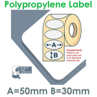 050030GPNPW1-2000OVAL, 50mm x 30mm OVAL Gloss White Polypropylene Label, Permanent Adhesive, FOR SMALL DESKTOP LABEL PRINTERS