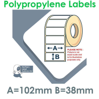 102038GPNPW1-4000, 102mm x 38mm, Gloss White Polypropylene Label, Permanent Adhesive, FOR LARGER LABEL PRINTERS
