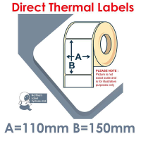 110150DTNPW1-1000, 110mm x 150mm, Direct Thermal Labels, Permanent Adhesive, 1,000 per roll, For Larger Label Printers