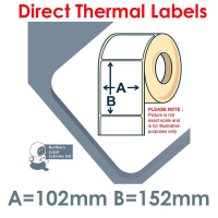 102152DTYPW1-950, 102mm x 152mm, Direct Thermal Labels, Shipping Labels, Zebra 3007096-T (Equivalent), 950 per roll, For Larger Label Printers
