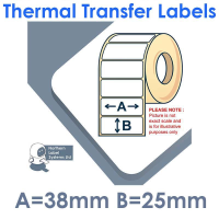 038025TTNRW1-2000, 38mm x 25mm , Thermal Transfer Labels, Removable Adhesive, 2,000 per roll, FOR SMALL DESKTOP LABEL PRINTERS