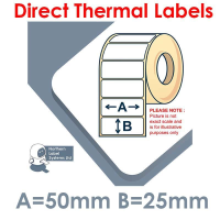 050025DTYRW1-4000, 50mm x 25mm, Direct Thermal Labels, Removable Adhesive, 4,000 per roll, For Larger Label Printers