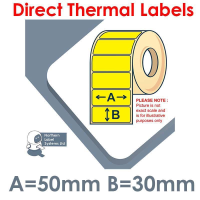 050030DTNPY1-4000, 50mm x 30mm, Yellow, Direct Thermal Labels, Permanent Adhesive, 4,000 per roll, For Larger Label Printers