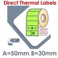 050030DTNPG1-4000, 50mm x 30mm, Green, Direct Thermal Labels, Permanent Adhesive, 4,000 per roll, For Larger Label Printers