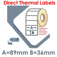089036DTYPW1-1000, 89mm x 36mm, Direct Thermal Labels, Permanent Adhesive, 1,000 per roll, For Small Desktop Label Printers