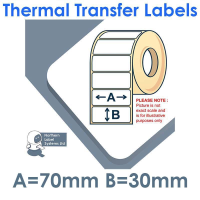 070030TTNPW1-1000, 70mm x 30mm, Thermal Transfer Labels, Permanent Adhesive, 1,000 per roll, FOR SMALL DESKTOP LABEL PRINTERS