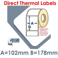 102178DTYPW1-250, 102mm x 178mm, Direct Thermal Labels, Permanent Adhesive, 250 per roll, For Small Desktop Label Printers