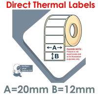 020012DTNRW1-5000, 20mm x 12mm, Direct Thermal Labels, REMOVABLE Adhesive, 5,000 per roll, For Larger Label Printers