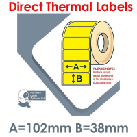 102038DTNPY1-1000, Yellow, 102mm x 38mm, Direct Thermal Labels, Permanent Adhesive, 1,000 per roll, For Small Desktop Label Printers