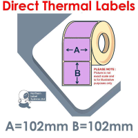 102102DTNPU1-1000, 102mm x 102mm, Lilac, Direct Thermal Labels, Permanent Adhesive, 1,000 per roll, For Larger Label Printers