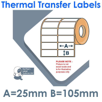 025105TTNPW2-2000, 25mm x 105mm 2 Across, Thermal Transfer Labels, Permanent Adhesive, 2,000 per roll, FOR LARGER LABEL PRINTERS