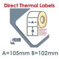 105102DTYPW1-1500, 105mm x 102mm, Direct Thermal Labels, Permanent Adhesive, 1,500 per roll, For Larger Label Printers