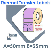 050025TTYPU1-5000, 50mm x 25mm, LILAC, Thermal Transfer Labels, Permanent Adhesive, 5,000 per roll, FOR LARGER LABEL PRINTERS