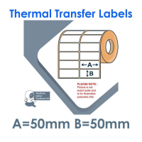 050050TTNPW2-2000, 50mm x 50mm 2 Across, Thermal Transfer Labels, Permanent Adhesive, 2,000 per roll, FOR SMALL DESKTOP LABEL PRINTERS