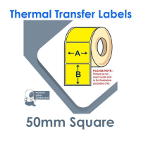 050050TTNPY1-1000, 50mm x 50mm, YELLOW Thermal Transfer Labels, Permanent Adhesive, 1,000 per roll, FOR SMALL DESKTOP LABEL PRINTERS